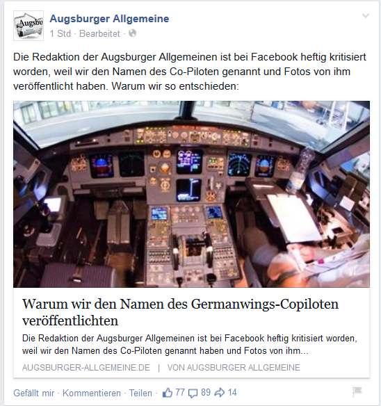 Facebook Germanwings
